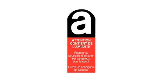 ETIQUETTE ATTENTION CONTIENT AMIANTE 10x5cm