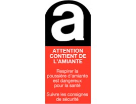 ETIQUETTE ATTENTION CONTIENT AMIANTE 10x5cm